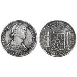 "Lima, Peru, bust 8 reales, Ferdinand VII (small ""imaginary"" bust), 1811JP, short ribbons, NGC VF 30."