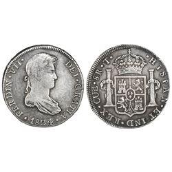 Cuzco, Peru, bust 8 reales, Ferdinand VII, 1824/3T, rare.