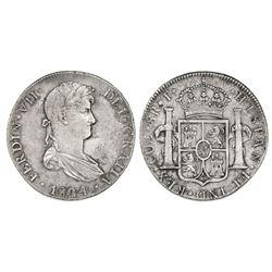 Cuzco, Peru, bust 8 reales, Ferdinand VII, 1824T.