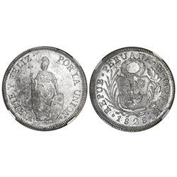 Lima, Peru, 8 reales, 1828JM, large Liberty figure, NGC MS 61.