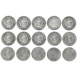 Lot of fifteen Lima, Peru, copper-nickel 10 soles, 1969, strike-pressure progression set.