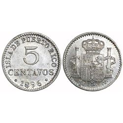 Puerto Rico (under Spain), 5 centavos, 1896-PGV.