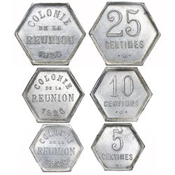 Lot of three Reunion hexagonal aluminum bank tokens, 1920, in NGC slabs, all ex-Pridmore (stated on