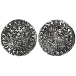 """Spain (Castile and Leon), 1 real, Henry IV (""""the Impotent""""), Burgos mint (B in legend below cross),"""