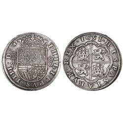 Segovia, Spain, milled 8 reales, Philip IV, 1651/31I.