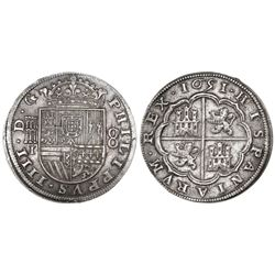 Segovia, Spain, milled 8 reales, Philip IV, 1651/31I.