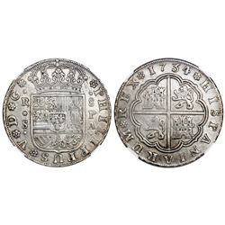 Seville, Spain, milled 8 reales, Philip V, 1734PA, NGC AU 55, finest and only known example in NGC c