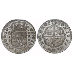 """Seville, Spain, milled 2 reales """"pistareen,"""" Philip V, 1736PA, PCGS MS64, finest known in NGC and PC"""