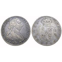 Madrid, Spain, bust 8 reales, Charles III, 1773PJ.