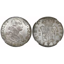 Madrid, Spain, bust 8 reales, Charles IV, 1805M, NGC AU 58.