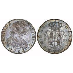 Madrid, Spain, bust 4 reales, Charles IV, 1793MF.