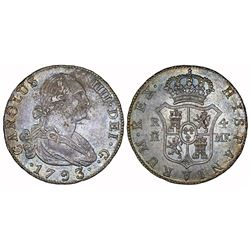 Madrid, Spain, bust 4 reales, Charles IV, 1793MF.