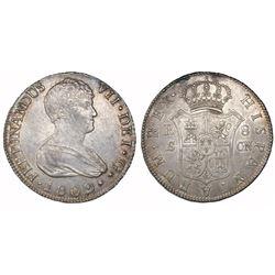 Seville, Spain, bust 8 reales, Ferdinand VII, 1809CN.