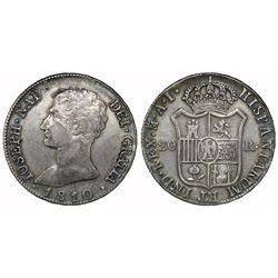 Madrid, Spain, 20 reales de vellon, Joseph Napoleon, 1810AI.
