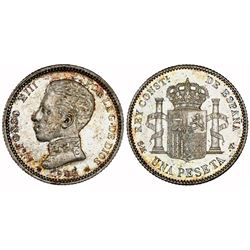 Madrid, Spain, 1 peseta, Alfonso XIII, 1903SMV with 19-03 inside stars, rare, NGC MS 63.