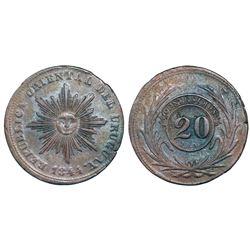 Uruguay, copper 20 centesimos, 1844.