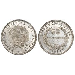 Uruguay, 50 centesimos, 1894, NGC MS 61.