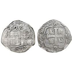"Caracas, Venezuela, ""imitation cob"" 2 reales, date ""182"" (early 1800s), NGC VF 20, ex-Rosenman (stat"
