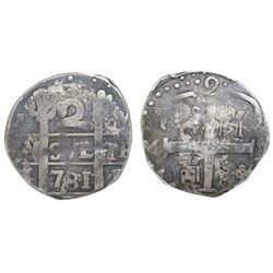 "Caracas, Venezuela, ""imitation cob"" 2 reales, date ""781"" (early 1800s), PCGS VF 20."