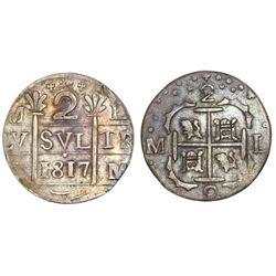 "Caracas, Venezuela, ""imitation cob"" 2 reales, 1817, lions and castles transposed."