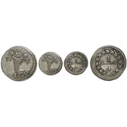 Caracas, Venezuela, 1/4 real, 1829, variety with cornucopia above 8, 16 pairs of leaves, no dot afte
