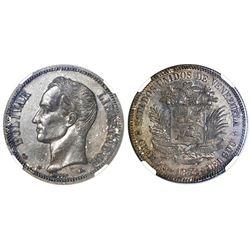 Venezuela (struck at the Paris mint), 1 venezolano, 1876-A, NGC AU 58.