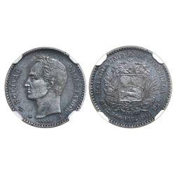 Venezuela (struck at the Paris mint), 10 centavos, 1874-A, serifed A, NGC AU 55.