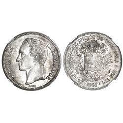 Venezuela, (5 bolivares), 1921, NGC MS 62.