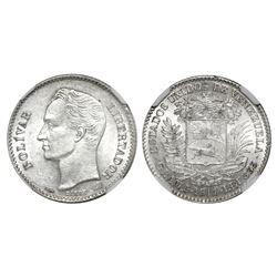 Venezuela, 1 bolivar, 1911, NGC AU 58.