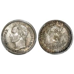 Venezuela, 1/2 bolivar, 1944, with accent, PCGS MS66+, finest known in NGC and PCGS censuses.