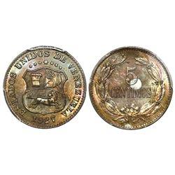 Venezuela (struck at the Philadelphia mint), copper-nickel 5 centimos, 1927, PCGS MS66+.