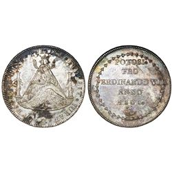 Potosi, Bolivia, 8 reales-sized silver proclamation medal, Ferdinand VII, 1808, ex-Cotoca.