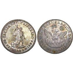 Potosi, Bolivia, 1 sol-sized silver medal, 1839, Regeneration of Bolivia, NGC MS 64, ex-Cotoca.