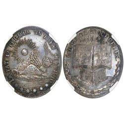 Potosi, Bolivia, oval silver medal, Santa Cruz (1829-39), patriotic military award, NGC MS 64, ex-Co