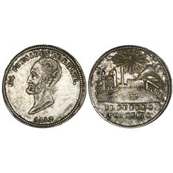 Potosi, Bolivia, 1 sol-sized silver medal, 1852, General Belzu, NGC AU 55, ex-Cotoca Collection.