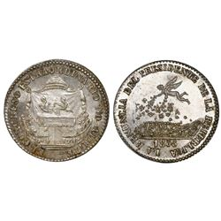 Potosi, Bolivia, 2 soles-sized silver proclamation medal, 1855, Congress / resignation of Belzu, NGC