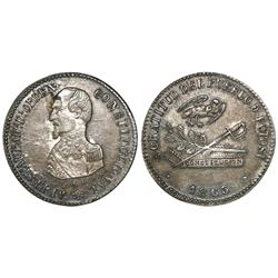 Potosi, Bolivia, 2 soles-sized silver medal, 1863, President Acha, NGC AU 58, ex-Cotoca Collection.