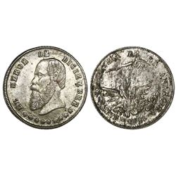 Potosi, Bolivia, 1/20 boliviano-sized silver proclamation medal, 1865, Hero of December, NGC MS 63,