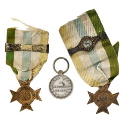 "Lot of three Brazil military medals, War of the Triple Alliance: silver ""Uruguayana,"" 1865; star cro"