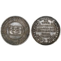 Chile, large silver medal, 1883, War of the Pacific - Chacabuco battalion.