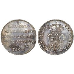 "Bogota, Colombia, silver ""2 reales"" proclamation medal, Ferdinand VII, 1808, pomegranate at top."