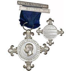 Cuba, silver medal, 1882, Alfonso XII, Volunteers, with fleurs at four points and loop at top attach