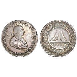 El Salvador, silver 2 reales-sized proclamation medal, Ferdinand VII, 1808.