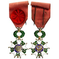 France, gilt and enameled star cross officer's decoration with original ribbon and rosette, ca. 1890