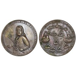Great Britain, copper-alloy medal, Admiral Vernon, 1739, Porto Bello.