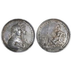 Mexico City, Mexico, large silver medal, Charles IV, 1790, Charles IV and Queen Maria Luisa, Univers