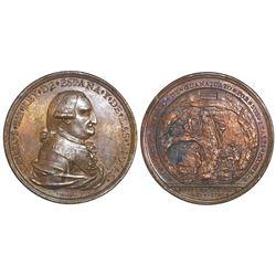 Guanajuato (los Mineros), Mexico, bronze proclamation medal, Charles IV, 1790.