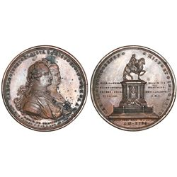 Mexico City, Mexico, large bronze medal, Charles IV and Queen Maria Luisa, 1796.