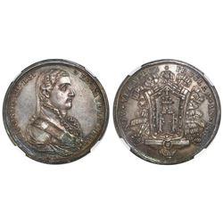 Veracruz, Mexico, silver proclamation medal, Ferdinand VII, 1808, NGC AU 58.