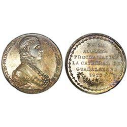 Guadalajara, Mexico, silver proclamation medal, Iturbide, 1822, Guadalajara Cathedral, NGC MS 61.